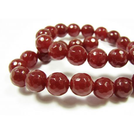Jade beads brown-red, ribbed, round shape 10 mm, 1 pcs.