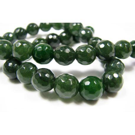 Jade bead thread, green, ribbed, round shape 10 mm, 1 pcs.