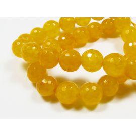 Nefrito karoliukai geltonos spalvos, briaunuoti, apvalios formos 10 mm, 1 vnt.