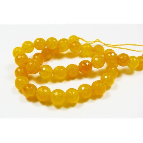 Jade bead thread, yellow, ribbed, round shape 10 mm, 1 pcs.