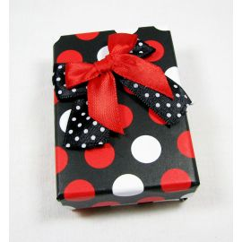 Gift box, cardboard, black white red 80x55 mm, 1 pcs.