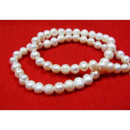 Freshwater pearl thread, white, round shape 6-7 mm