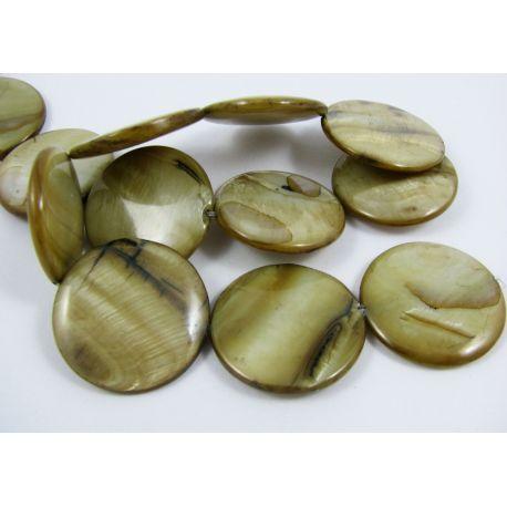 Pearl bead thread, brownish, coin shape, 30 mm