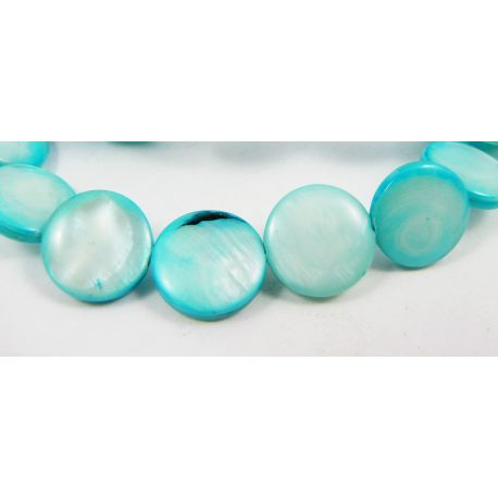 Pearl mass beads, azure, coin shape 12 mm