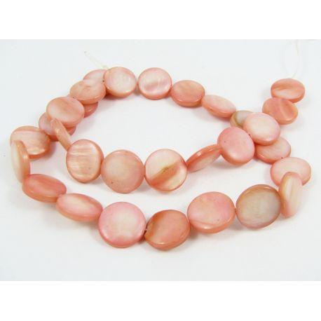 Pearl bead thread, light pink, coin shape,12 mm