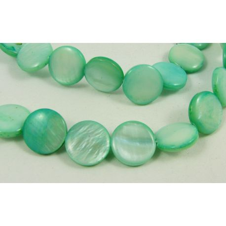 Pearl mass beads, greenish, coin shape 12 mm