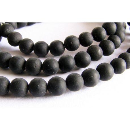 Agato karoliukų gija juodos spalvos matiniai apvalios formos 4mm gijoje 94vnt