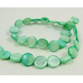 Perlų masės karoliukų gija, žalsvos spalvos, monetos formos,12 mm