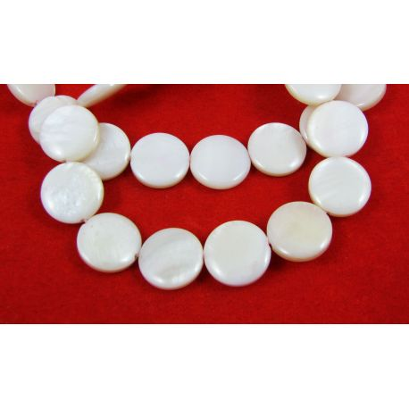 Pearl mass beads, white, coin shape 12 mm