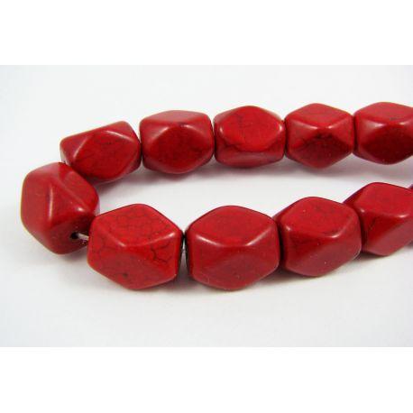 Sintetinio turkio gija, raudonos spalvos, stačiamapio formos, dydis 16x12 mm