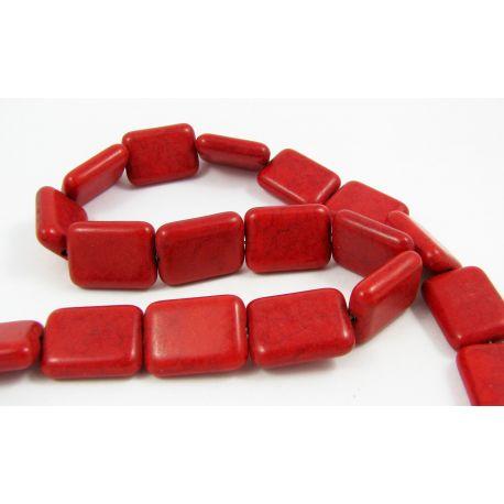 Sintetinio turkio gija, raudonos spalvos, stačiamapio formos, dydis 20x15 mm