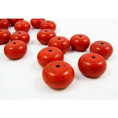 Sintetinio turkio karoliukai, raudonos-oranžinės spalvos, rondelės formos, 16x11 mm