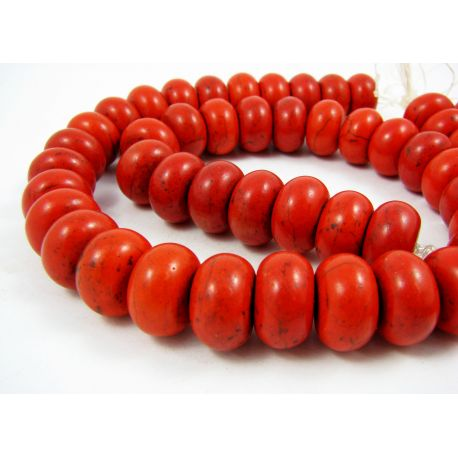 Synthetic turquoise thread, red-orange, rondelle shape, size 16x11 mm