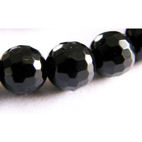 Agato karoliukai juodos spalvos briaunuoti apvalios formos 6mm