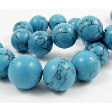 Sintetinio turkio karoliukai, mėlynos spalvos, apvalios formos, dydis 18 mm
