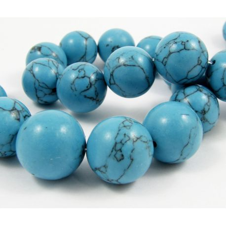 Synthetic turquoise beads, blue, round shape, size 18 mm