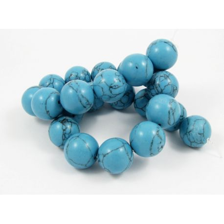 Synthetic turquoise thread, blue, round shape, size 18 mm