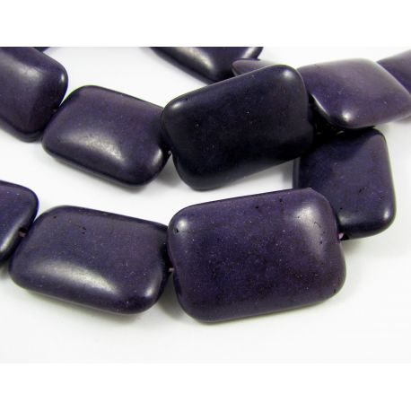 Synthetic turquoise beads, dark purple, rectangular, 30x20 mm