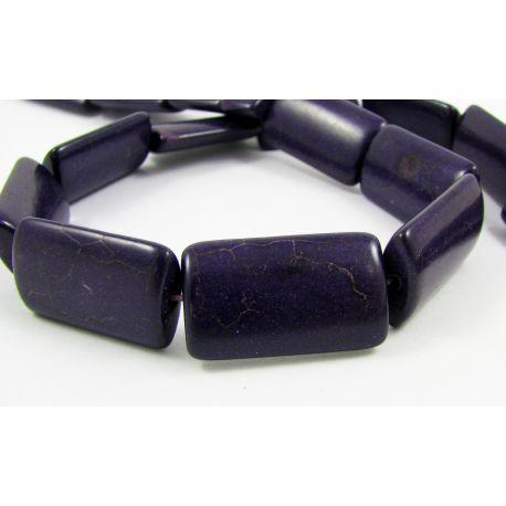 Synthetic turquoise beads, dark purple, rectangular, 24x14 mm