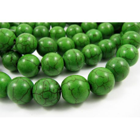 Synthetic turquoise beads, bright green, round shape, size 10 mm