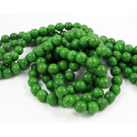 Synthetic turquoise thread, bright green, round shape, size 10 mm