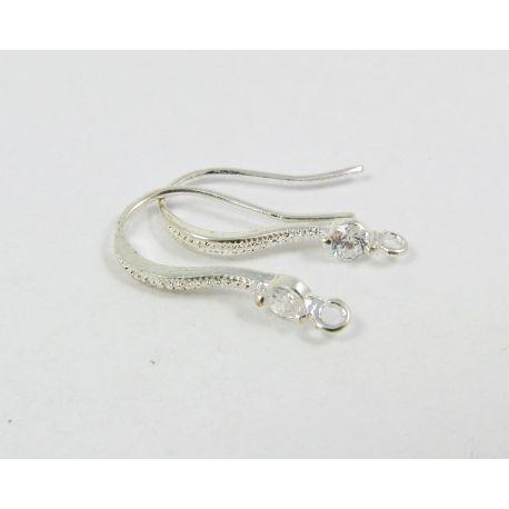 Brass hooks for earrings, silver, size 17x10 mm