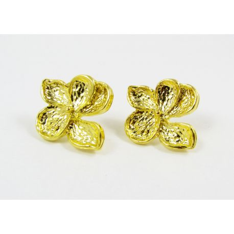 "Hooks for earrings ""Flower"", gold color, size app about 24x22 mm 1 pair"