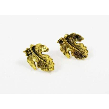 Hooks for earrings, aged gold, size app about 16x13 mm 1 pair