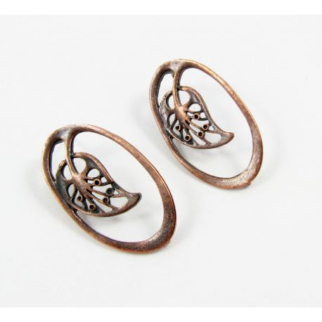 "Hooks for earrings ""Leaf"", aged copper color, size app about 34x19 mm 1 pair"
