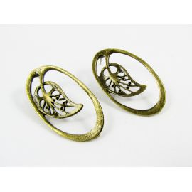 "Earrings ""Sheet"", 34x19 mm, 3 pairs"