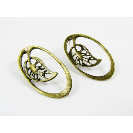 """Earrings """"Leaf"""", aged bronze, size appas 34x19 mm 1 pair"""