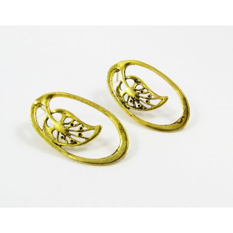 """Hooks for earrings """"Leaf"""", aged gold, size app about 34x19 mm 1 pair"""