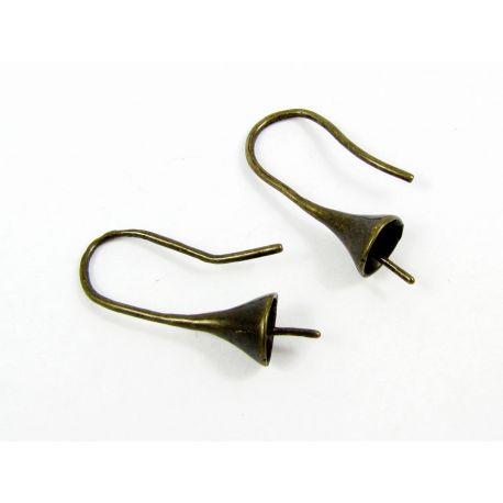 Kabliukai auskarams pusiau gręžtiems karoliukams, bronzinės spalvos, 22x8 mm dydžio