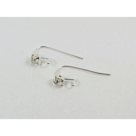 Brass hooks for earrings, silver, size 18x5 mm
