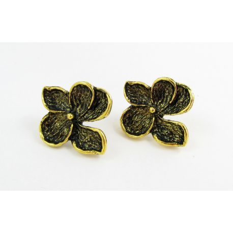 """Hooks for earrings """"Flower"""", aged gold, size app about 24x22 mm 1 pair"""