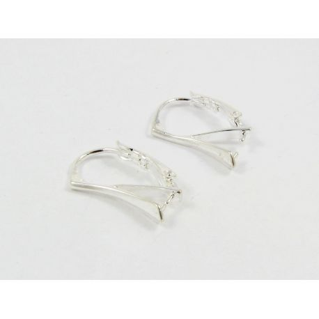 Brass earrings hooks for Swarovski crystal, silver, size 18x12 mm.