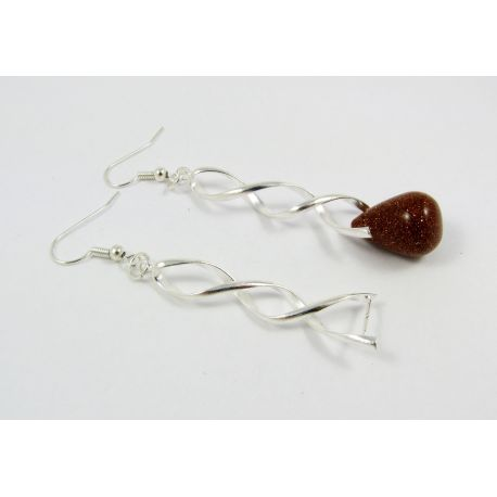 Earrings hooks, silver-plated, size appax. 33x13 mm, 2 pairs