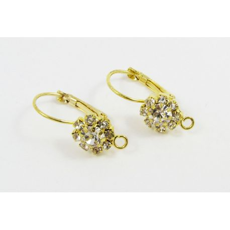 Brass hooks for earrings, gold, size 23x10 mm