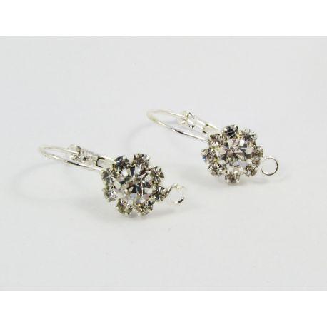 Brass hooks for earrings, silver, size 23x10 mm