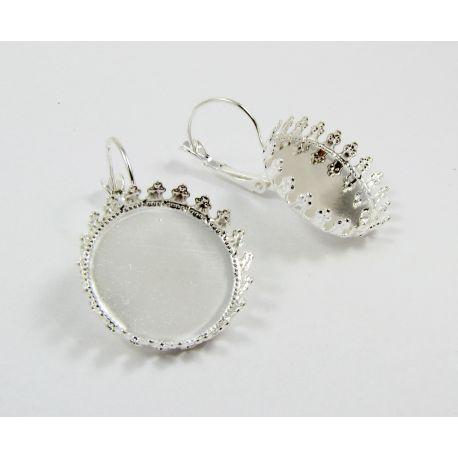 Brass hooks for earrings, silver, size 33x22 mm