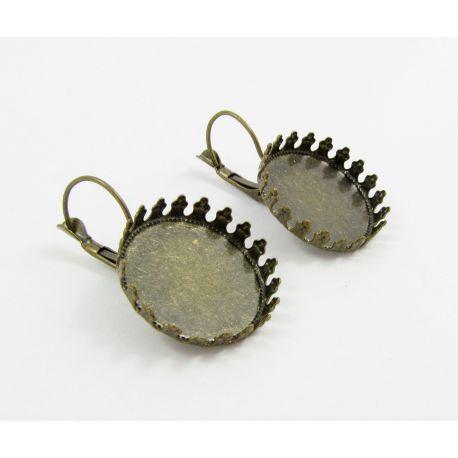 Brass hooks for earrings, aged bronze, size 33x22 mm