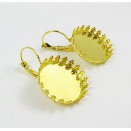 Žalvariniai kabliukai auskarams, aukso spalvos, 33x22 mm dydžio