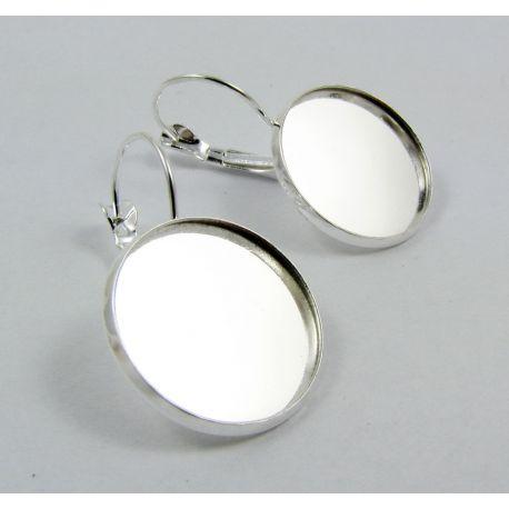 Brass hooks for earrings, silver, 20 mm size
