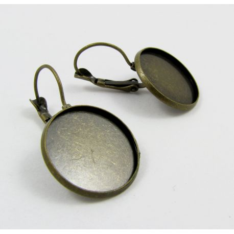 Brass hooks for earrings, aged bronze, size 20 mm