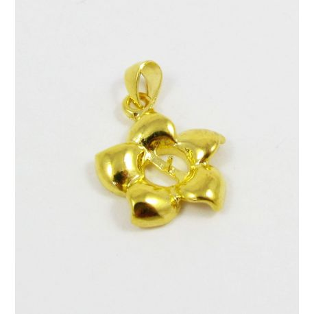Brass pendant for semi-drilled bead, gold, 19x16mm