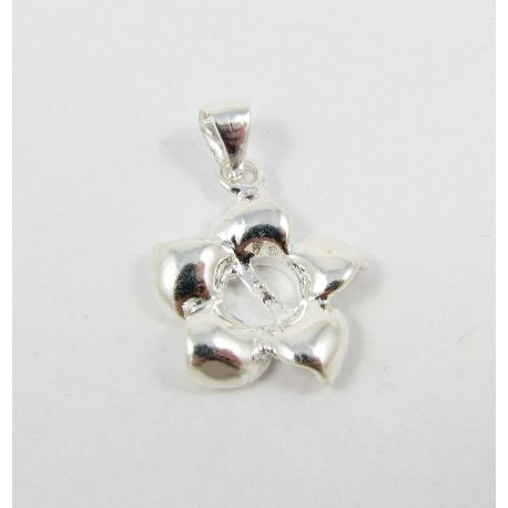 Brass pendant for semi-drilled bead, silver-plated, 19x16mm