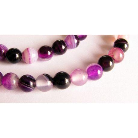Agato karoliukai violetinės - baltos spalvos apvalios formos 6mm