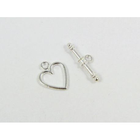 Necklace clasp - heart, silver color, 14x11 mm 5 sets