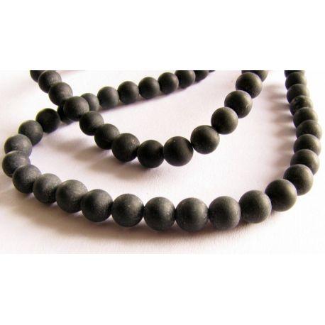 Agato karoliukai juodos spalvos matiniai apvalios formos 6mm