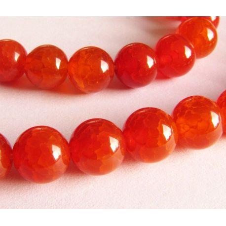 Agato karoliukai raudonos - oranžinės spalvos apvalios formos 8mm